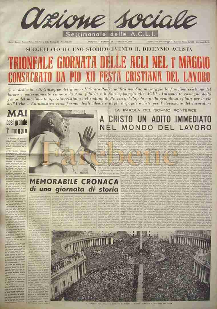Acli 1 maggio 1955 decennio