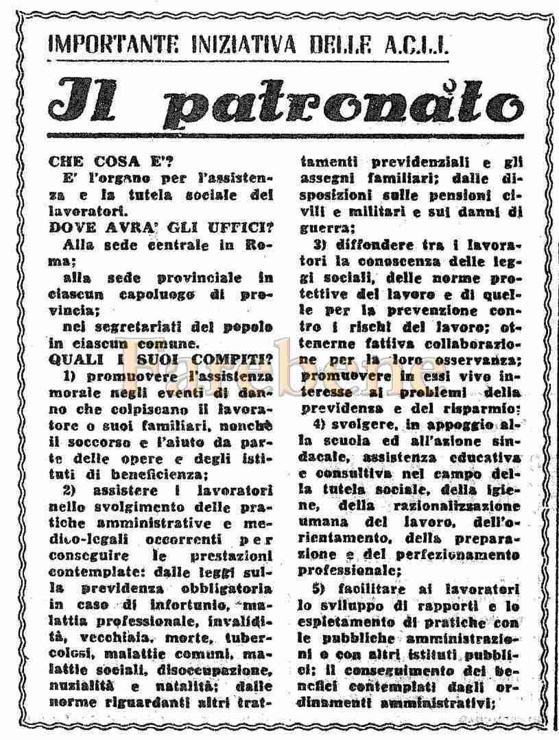patronato acli azione sociale 1945
